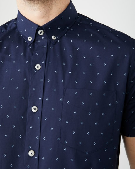 Slim Fit Short Sleeve stretch geo print Shirt