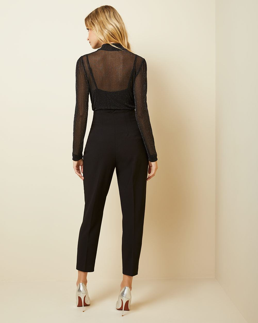 High-waist tapered leg stretch twill ankle pant