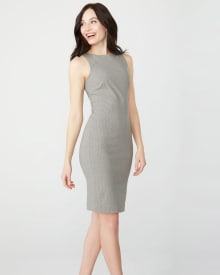 Fitted grey pinstripe City dress