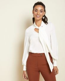 Long sleeve blouse with neck tie