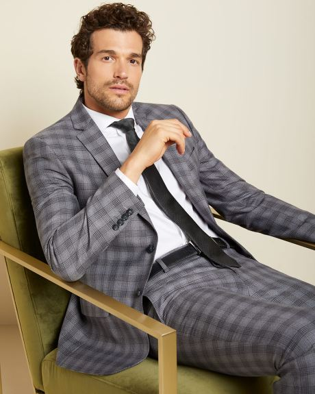 Slim fit checkered Grey suit blazer