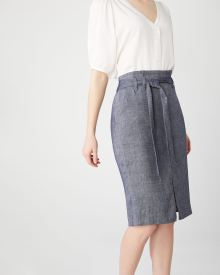 Chambray Paper Bag skirt with sash