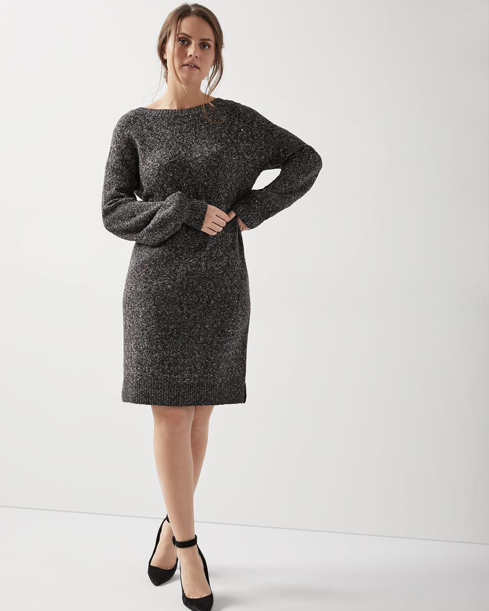 d9408f03205 Long sleeve nepped sweater dress