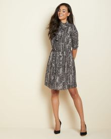 snake-print Fit and flare dress with neck bow