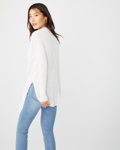 Lighweight cashmere-like knot-front cardigan