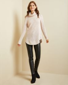 Cable stitch cowl-neck tunic sweater