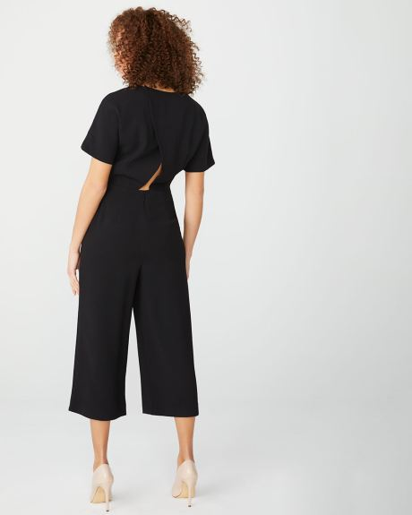 Crossover-back Crop leg jumpsuit