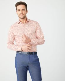 Tailored Fit coral flowers Dress Shirt