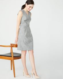 Sleeveless Fit and flare crosshatch dot dress