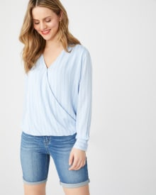 Long sleeve wrap-front blouse