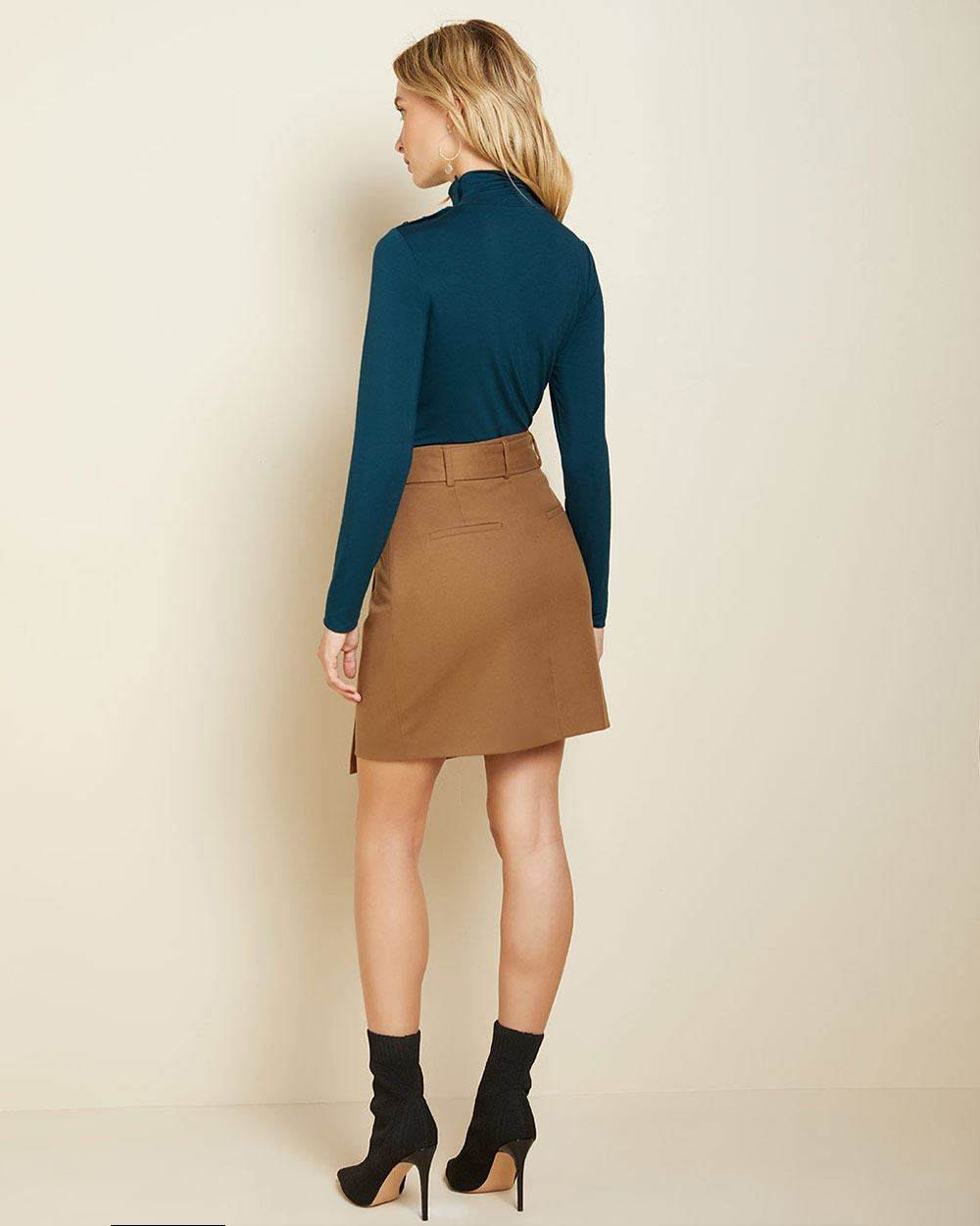 Belted High-waist flannel wrap skirt