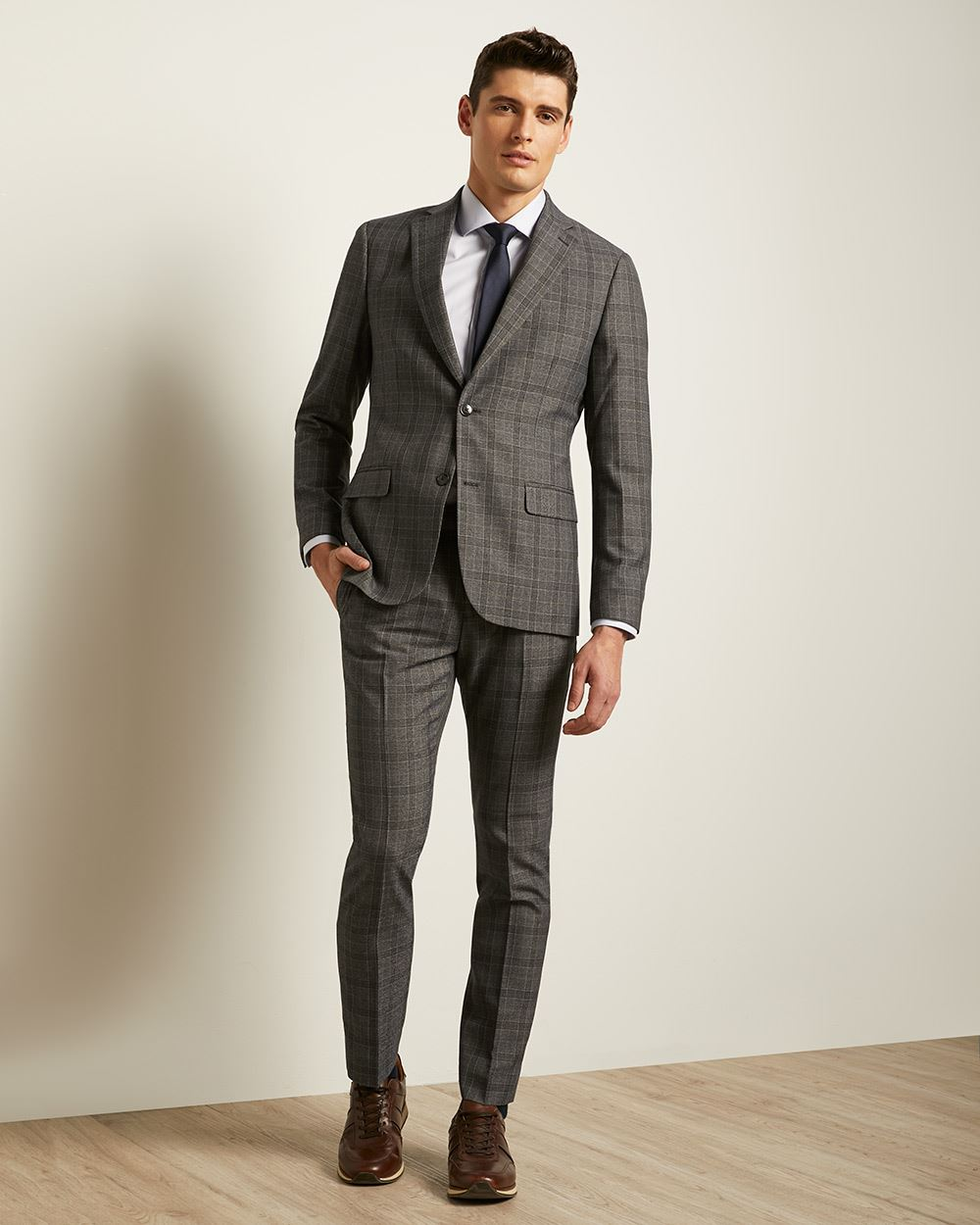 Slim Fit Marled Check Suit Pant