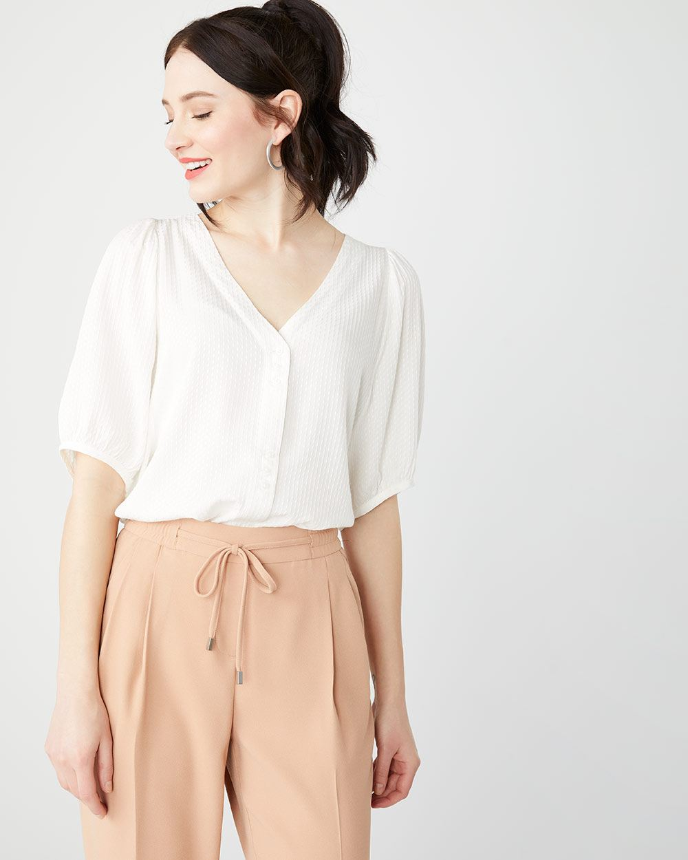 Textured button-down billowy sleeve blouse