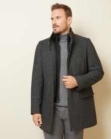 Grey Wool-blend top coat