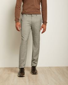 Slim Fit Beige and Grey Glen Check City Pant