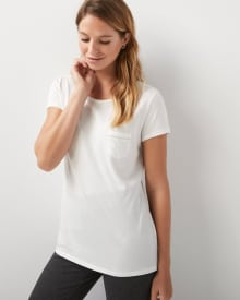 Crew-neck cotton and modal t-shirt with pocket