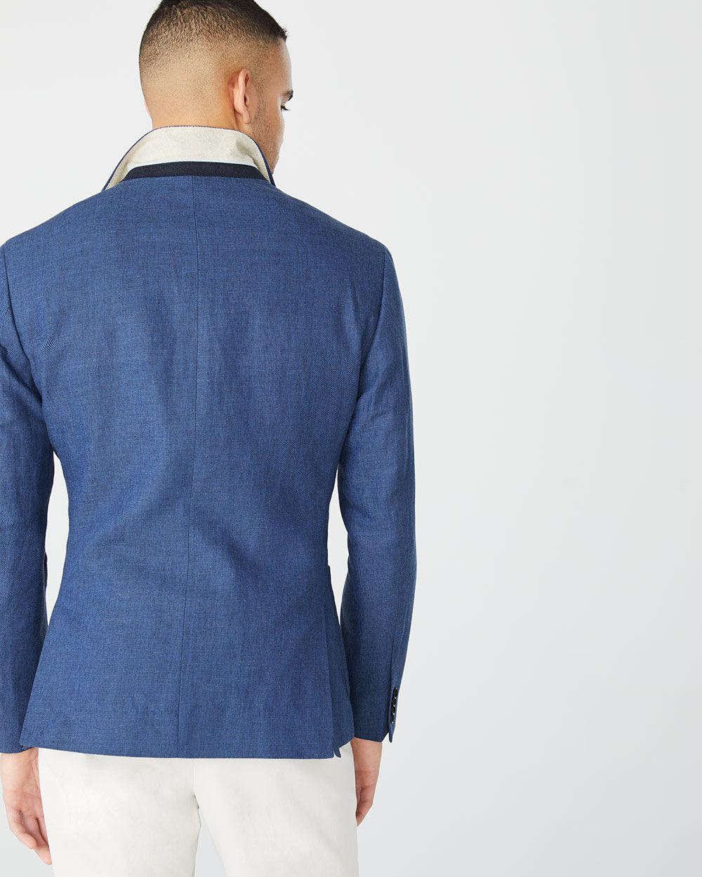 Athletic fit blue Linen-blend Blazer