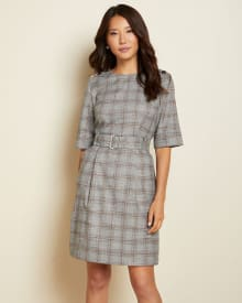 Belted short sleeve flannel plaid dress