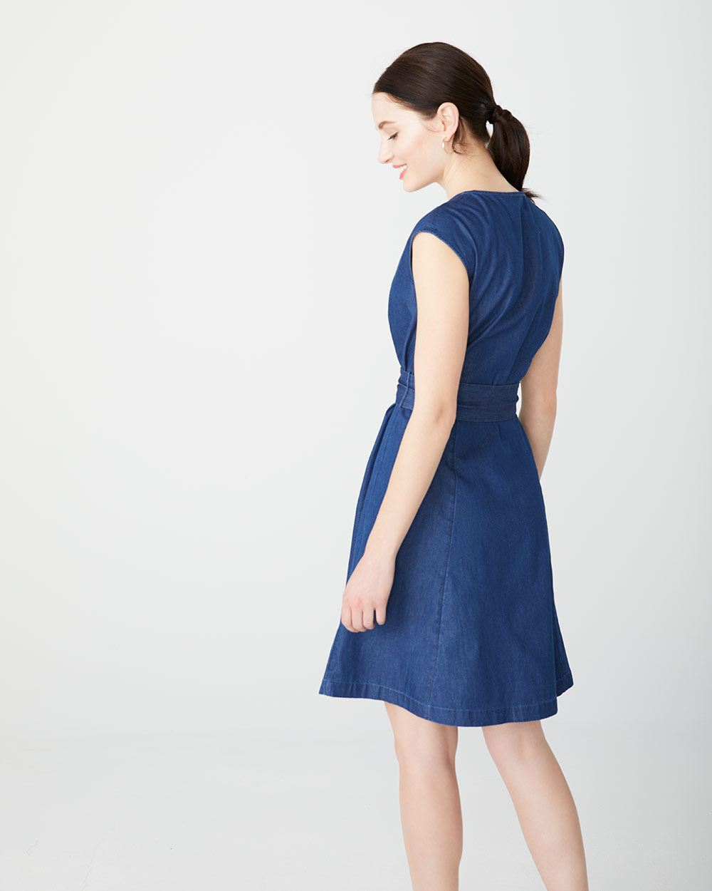 Denim button-down shirt dress with sash