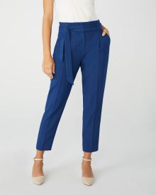 Cobalt Blue Viscose-blend signature fit paper bag pant
