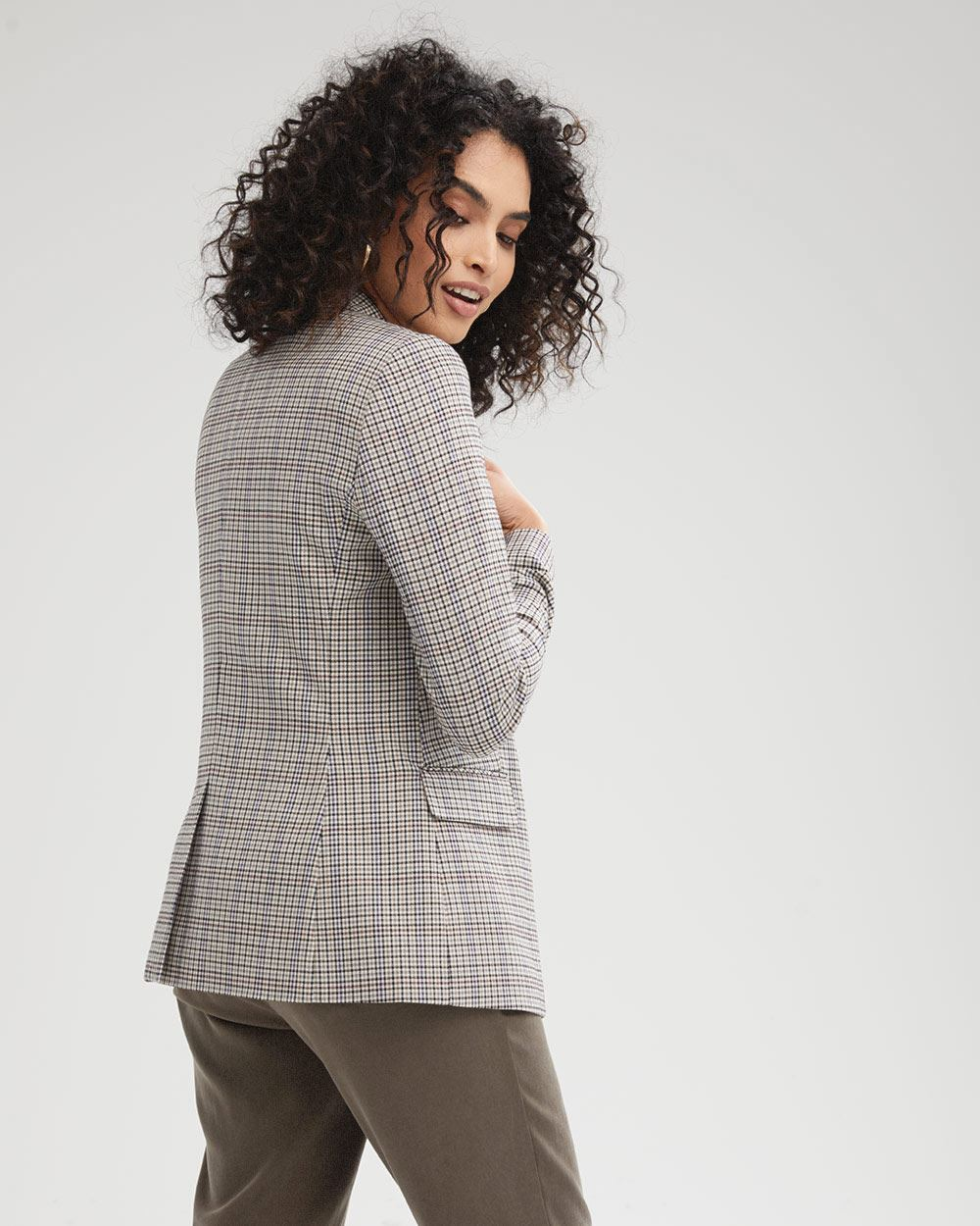 Fitted Faux Double-breasted Small Plaid Blazer