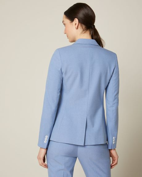 Heather blue fitted double-breasted blazer
