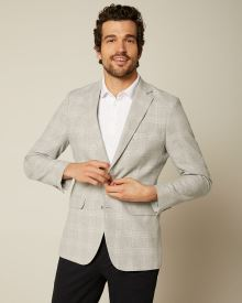 Slim fit light grey check blazer