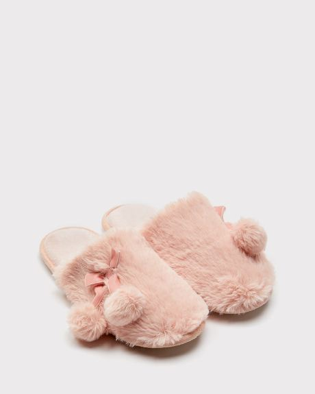 Pink pompom slippers
