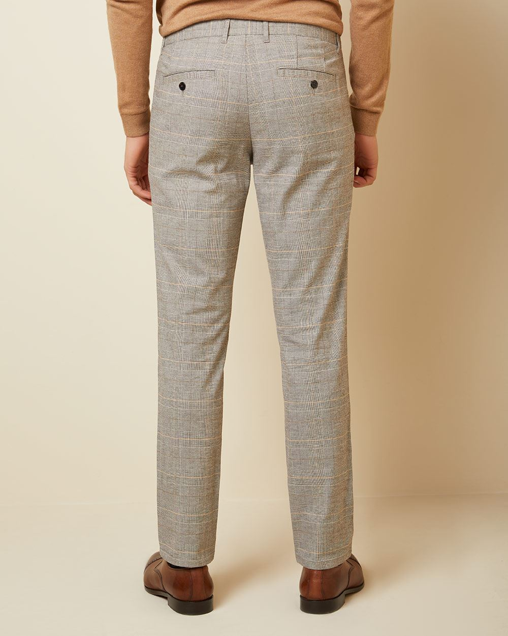 Slim fit brushed beige check pant