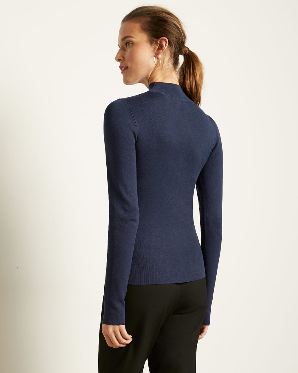 Fitted Ribbed Knit Sweater with Front Cut Out