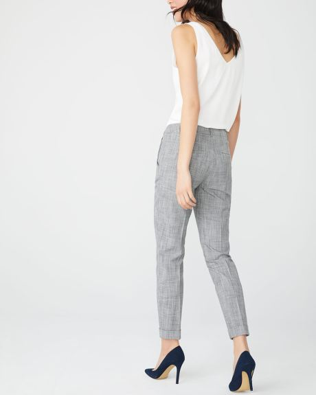 Grey crosshatch Signature fit Slim Leg cuffed Ankle Pant