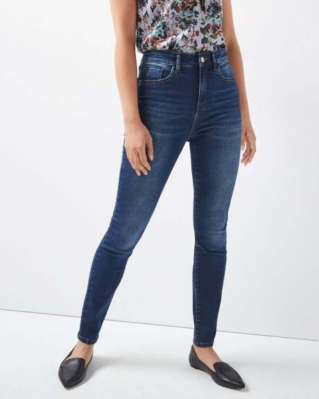 High-rise skinny Dark blue wash jeans with shape refining pockets