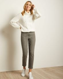 High-waisted Cropped Skinny Jeans in Grey Wash Denim