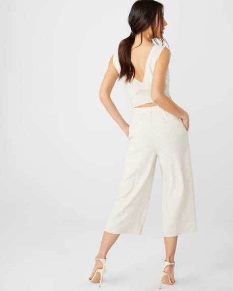 Crossover back Crop leg linen-blend jumpsuit