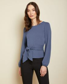 Belted waist long sleeve t-shirt
