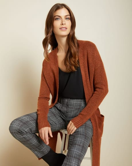 Relaxed fit open-front boucle cardigan