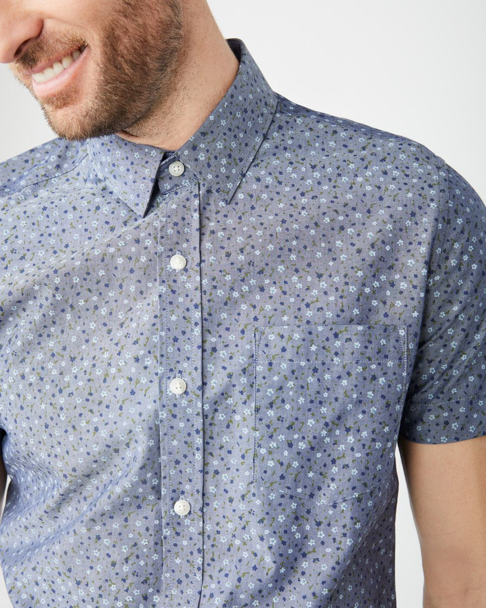 Slim Fit Short sleeve Chambray Floral shirt