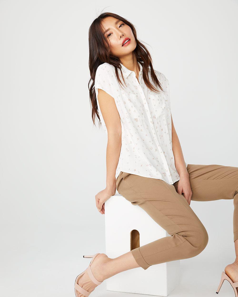 Short sleeve button-down blouse