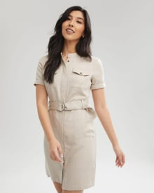 Crew Neck Shirtdress with Removable Belt