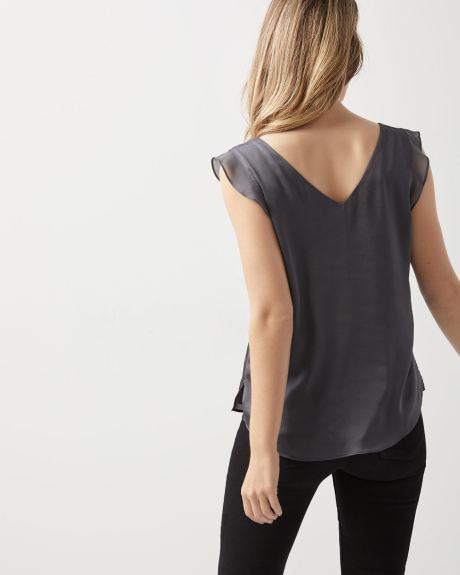 Cap sleeve satin blouse with chiffon