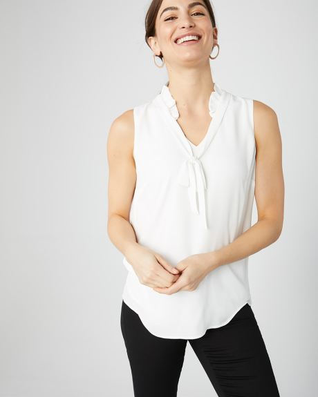Sleeveless silky crepe blouse with neck tie