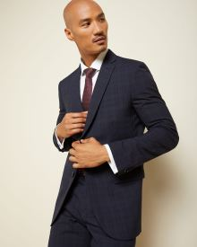 Tailored Fit Tonal Check Wool Suit Blazer