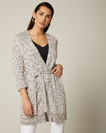 Relaxed fit Speckled knit cardigan with belt
