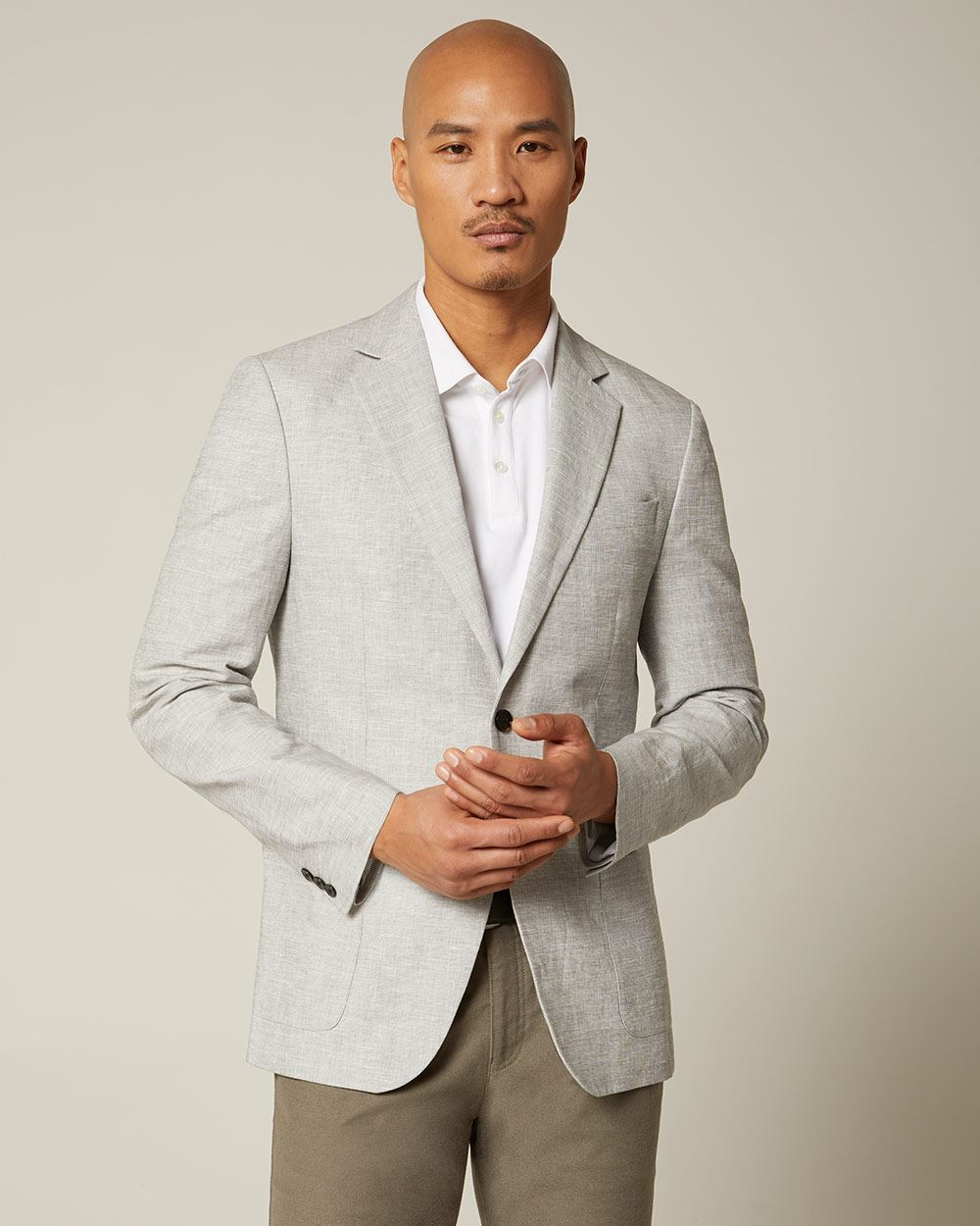 Slim fit light grey linen-blend blazer