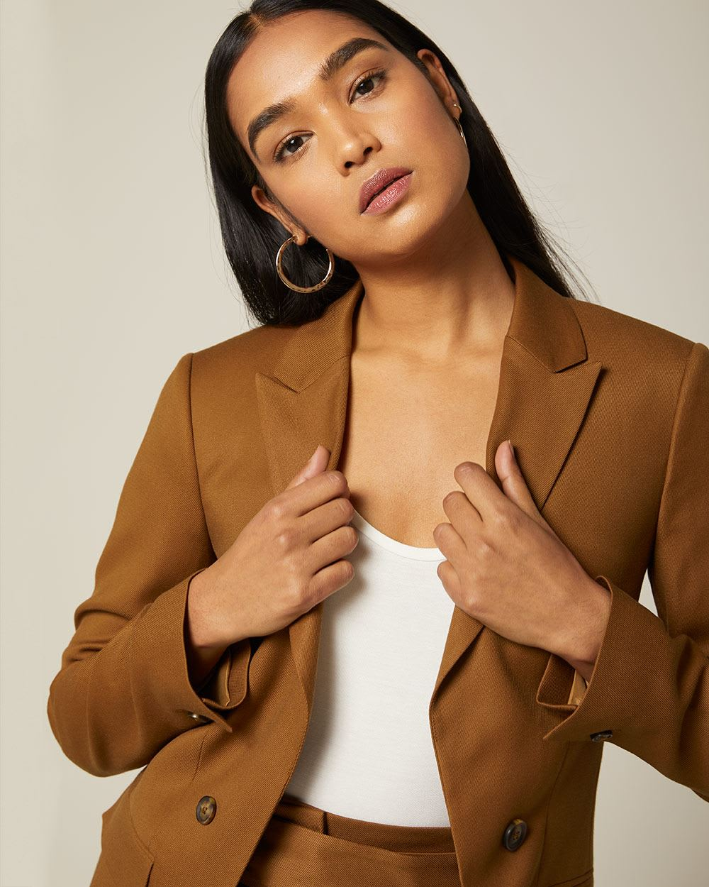 Loose fit faux Double-breasted solid twill blazer