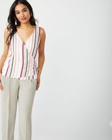 Sleeveless Striped wrap blouse with waist tie
