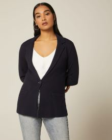 Notch-collar knit blazer