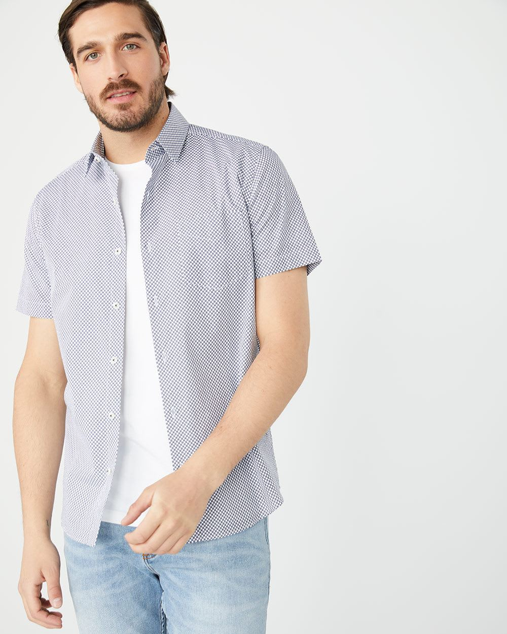 Tailored Fit Short Sleeve white geo Shirt