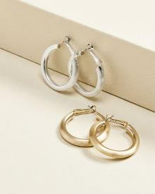 Brushed hoop earrings - 2 Paires