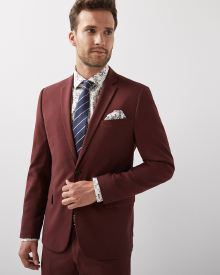 Slim Fit Deep Red Blazer - Short